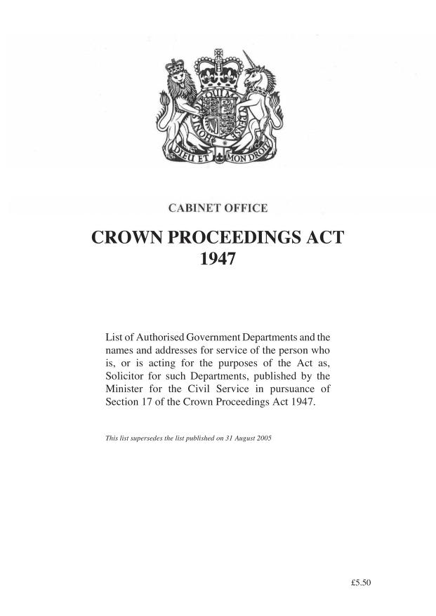 Cabinet Office - Crown Proceedings Act 1947