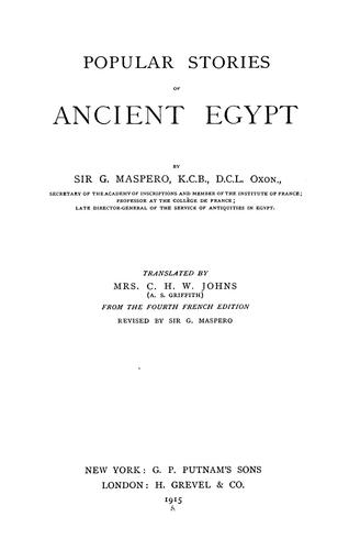 Download Popular stories of ancient Egypt