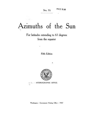 Azimuths of the sun for latitudes extending to 61 degrees from the equator