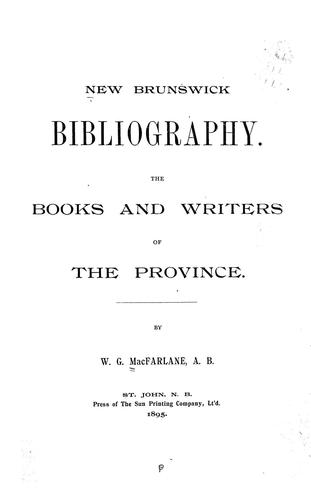 New Brunswick bibliography