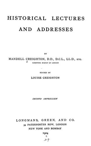 Historical lectures and addresses
