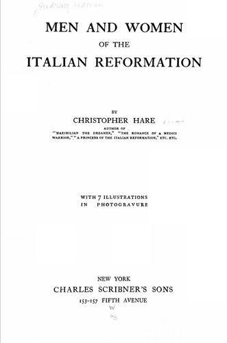 Men and women of the Italian reformation
